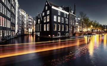 night, lights, the city, netherlands, amsterdam, the urban landscape