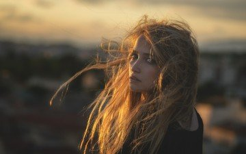 girl, portrait, sunset, look, hair, face, the wind, freckles, lidia savoderova
