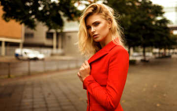 blonde, the city, street, model, face, in red, bokeh, miro hofmann, carla sonre, miro hoffman, karl sonne
