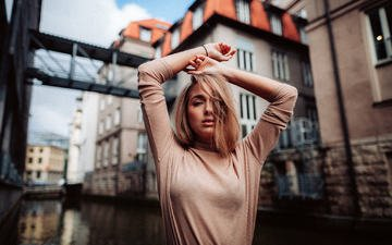girl, blonde, the city, look, model, hair, face, hands