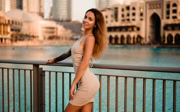 girl, dress, smile, the city, look, hair, face, tattoo, violetta ataeva