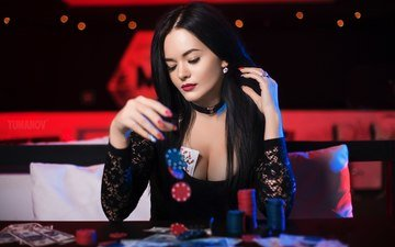 girl, brunette, chips, card, model, the game, the excitement, red lipstick, neckline, red nails