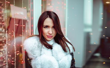 girl, portrait, look, model, face, lights, fur, garland, brown hair