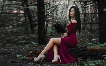 trees, girl, dress, brunette, look, model, profile, face, sitting, high heels
