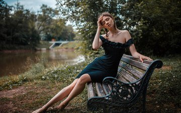 girl, pose, brunette, legs, bench, black dress, sitting, braids, closed eyes, disha shemetova