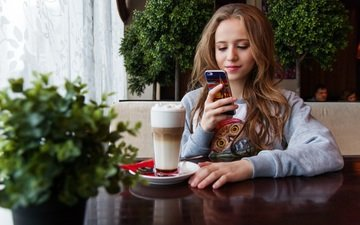 girl, smile, look, coffee, hair, face, phone, drinks, smartphone