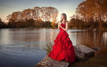 grass, trees, the evening, nature, stones, sunset, girl, park, blonde, pond, makeup, red dress, bokeh, lods franck, lea