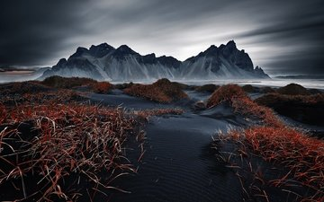 the sky, mountains, nature, landscape, iceland, dark, vestrahorn islande