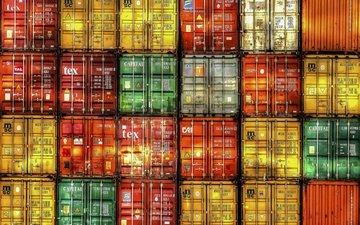 фон, цвет, контейнеры, груз, контейнер