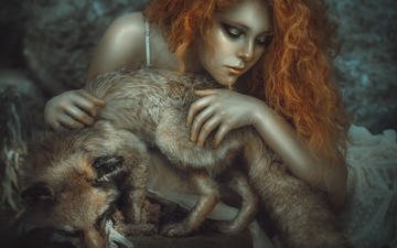 girl, fantasy, fox, face, animal, redhead, closed eyes, rebeca saray