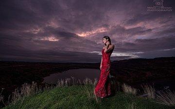 clouds, water, girl, brunette, model, red dress, minko minkov