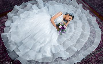 flowers, girl, brunette, look, model, carpet, white dress, the bride, lying, bouquets, minko minkov