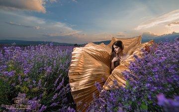цветы, облака, девушка, платье, поле, лаванда, модель, длинные волосы, minko minkov