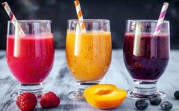 малина, фрукты, абрикос, ягоды, коктейль, черника, бокалы, сок, фреш