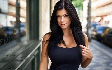 девушка, платье, портрет, брюнетка, взгляд, улица, макияж, в чёрном, боке, terezka, milan r