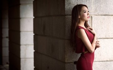 girl, look, profile, hair, face, asian, red dress, serena