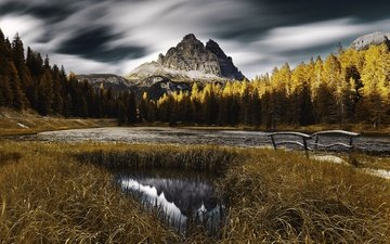 trees, river, mountains, the bridge, forest, autumn, italy, the dolomites