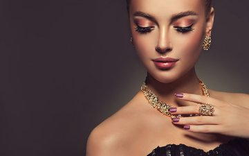 украшения, девушка, модель, макияж