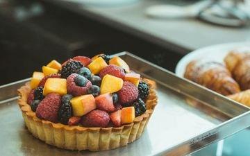 ягоды, десерт, пирожное