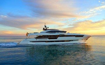 sunset, sea, yacht, 1