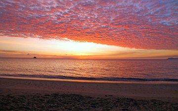 sunset, sea, beach, 2