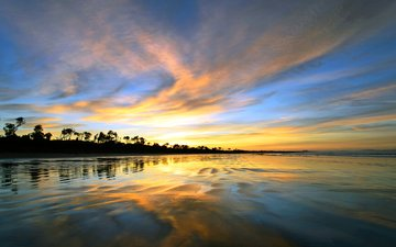 sunset, sea
