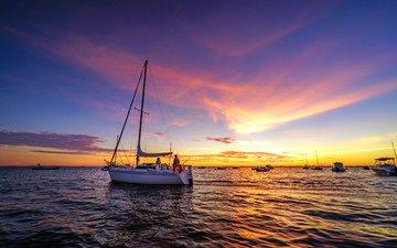 sunset, sea, yachts, boats, 11