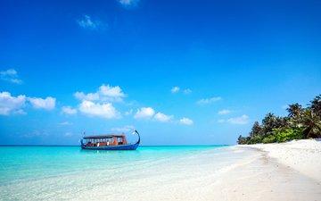 sea, beach, boat, island, tropics, the maldives