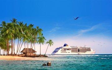 море, пляж, остров, тропики, лайнер, 15