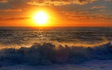 wave, sunset, sea, 17