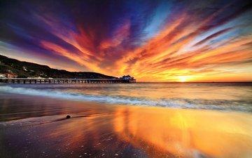 sunset, sea, beach, malibu