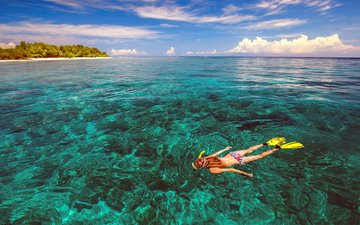 girl, sea, island, diving