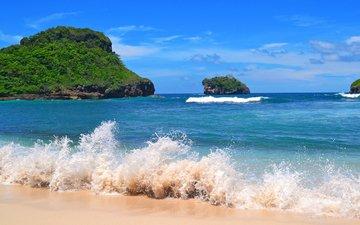 wave, sea, beach, islands
