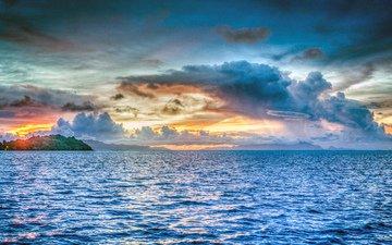 sunset, sea, islands