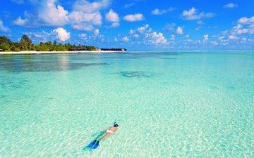 girl, sea, beach, island, tropics, diving