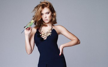 girl, look, bird, hair, face, actress, parrot, black dress, lea seydoux, lee seydoux