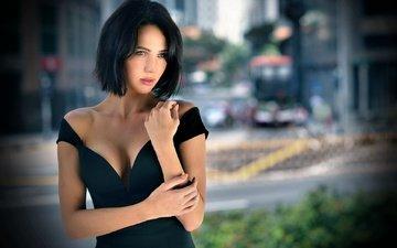 girl, brunette, the city, look, model, black dress, neckline