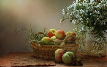 flowers, grass, fruit, apples, napkin, bank, basket, table, still life, burlap
