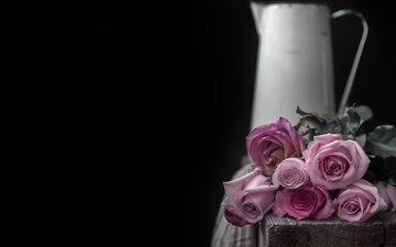 цветы, бутоны, розы, лепестки, черный фон, букет, кувшин