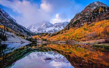 небо, облака, деревья, озеро, горы, отражение, осень, сша, колорадо, аспен