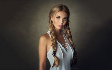 girl, blonde, look, model, posing, braids, sean archer, katya kotaro