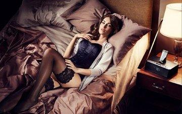 girl, brunette, beauty, model, romance, megan fox, fashion, corset, super, in bed, lingerie, stockings