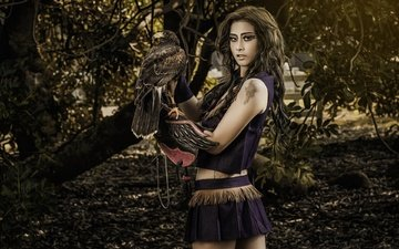 tree, girl, background, look, model, bird, hair, face, makeup, hawk