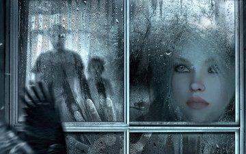 girl, drops, sadness, rain, face, glass
