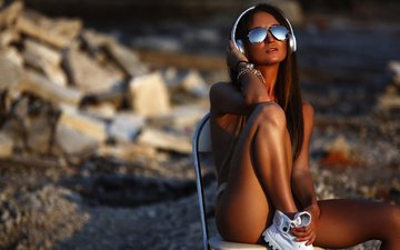 sunset, girl, headphones, chair, model, feet, topless, sunglasses, sitting, artem savinkov, anyuta furnosova