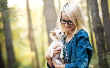 девушка, настроение, блондинка, улыбка, очки, собака, модель, чихуахуа, джинсовка