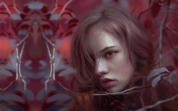 art, girl, portrait, look, autumn, fantasy, lips, huy ozuno