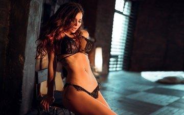 girl, pose, brunette, model, chest, legs, tattoo, figure, underwear, beautiful, sitting
