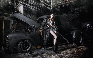 girl, pose, machine, auto, cloak, cigarette, shorts, pickup, car wash