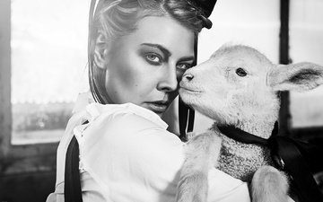 girl, look, black and white, face, sheep, lamb, angela hasler